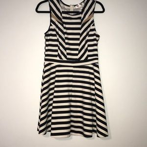 Black and White Striped Party Dress